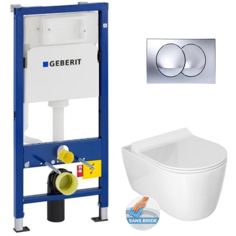 Geberit Pack WC Bâti-support + Cuvette Alfa sans bride fixations invisibles +