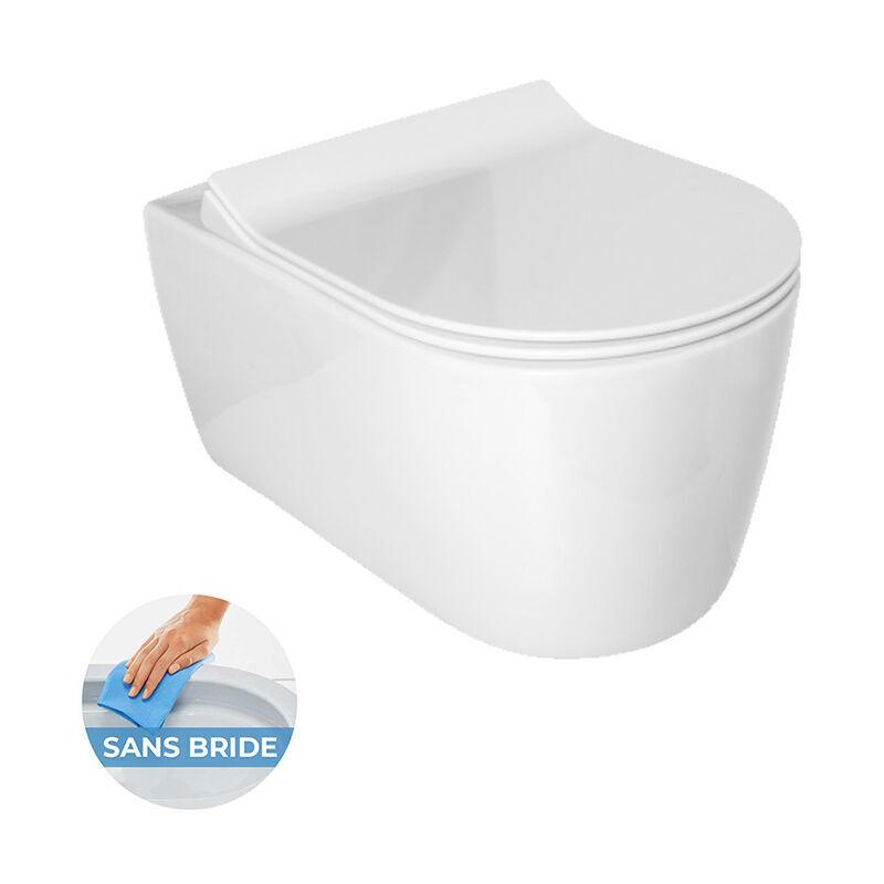 Idevit Alfa WC suspendu sans bride avec fixations invisibles + abattant ultra