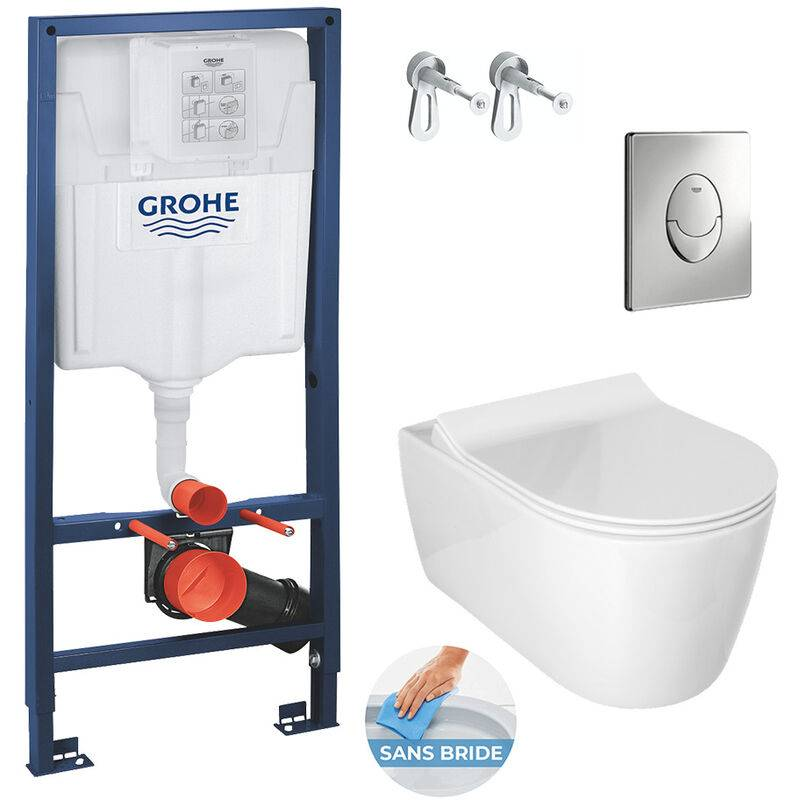 Grohe Pack WC Bâti Rapid SL + Cuvette Alfa sans bride avec fixations invisibles