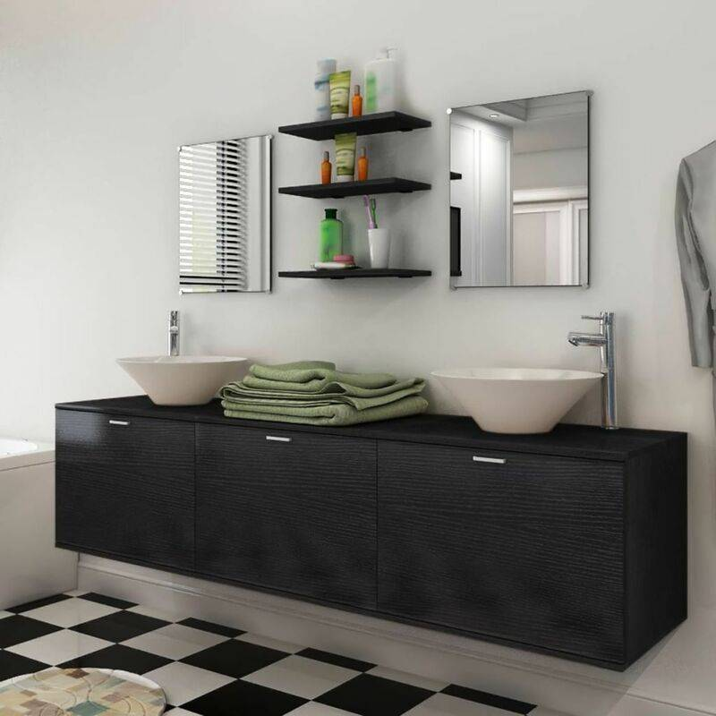 HOMMOO Dix pièces pour salle de bains avec lavabo et robinet noir HDV17079 - Hommoo