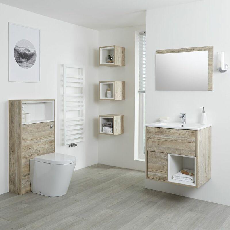 HUDSON REED Hoxton - Set Moderne Chêne Clair Avec Meuble Lavabo LED, Meuble WC, Mirroir et