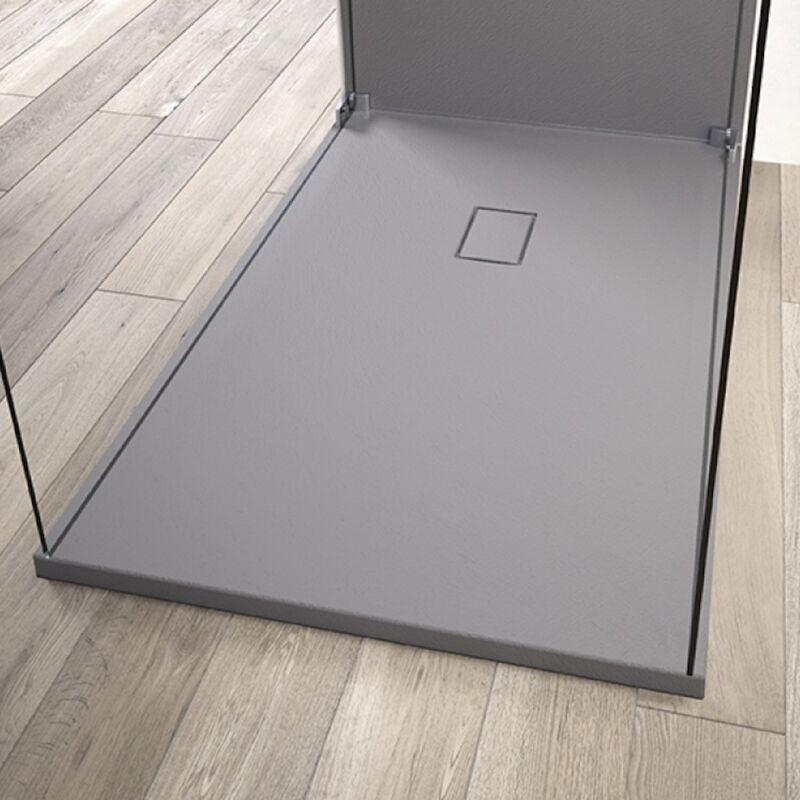 KINEDO Receveur de douche recoupable Kinesurf Pietra, 100 x 80, gris beton - Gris