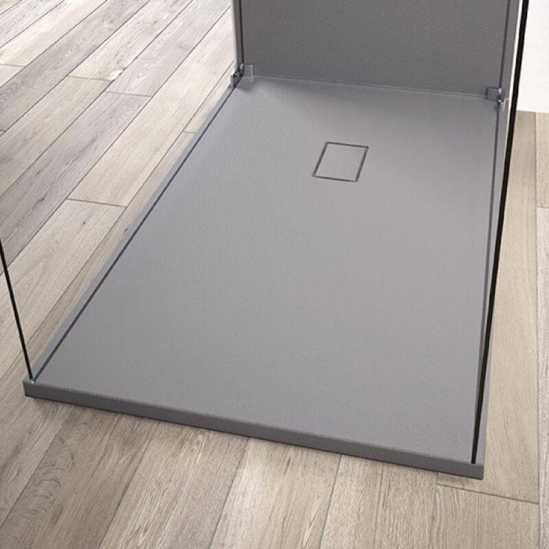 KINEDO Receveur de douche recoupable Kinesurf Pietra, 180 x 100, gris beton - Gris