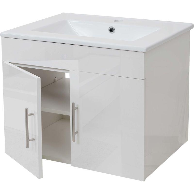 HHG Lavabo + meuble sous évier HHG-235, meuble sous vasque, poli miroir 60cm ~ blanc