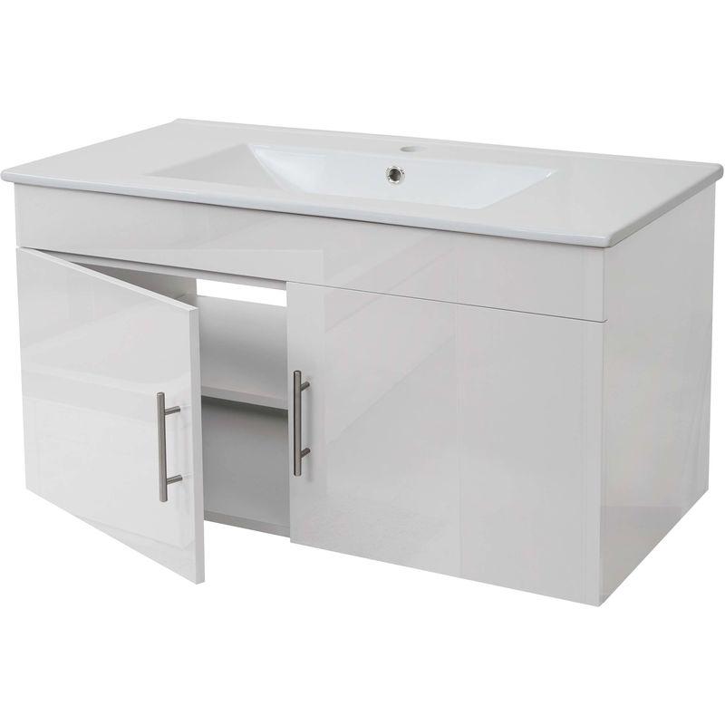 HHG Lavabo + meuble sous évier 241, meuble sous vasque, poli miroir 90cm ~ blanc