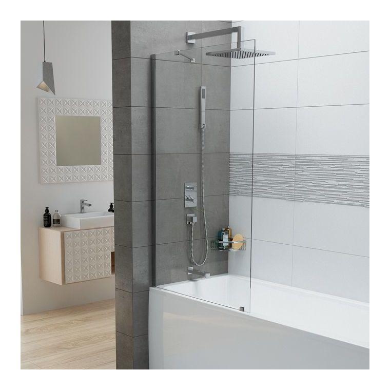 Leda - Pare-baignoire 1 volet fixe 150x80 cm verre transparent 6mm profilé