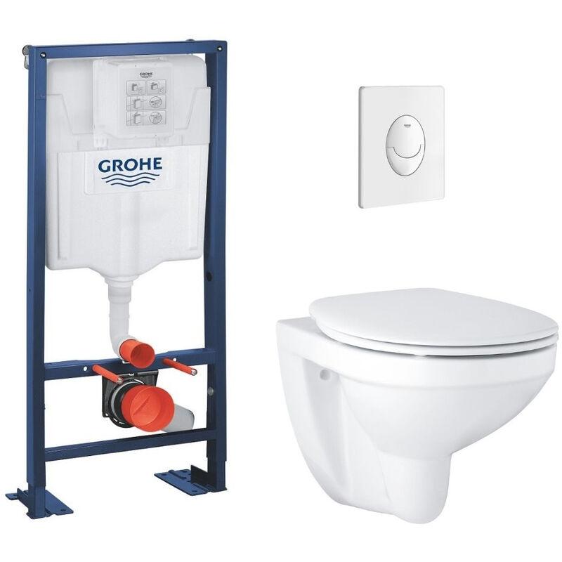 GROHE Lot wc suspendu Grohe Bau Ceramic bâti support Grohe Rapid SL et plaque de
