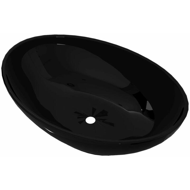 VIDAXL Lavabo Ovale Céramique Lave-Mains Vasque à Poser Salle de Bain Maison