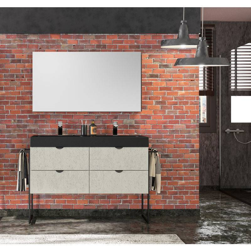 ALLIBERT Meuble de salle de bain 120 cm Faktory béton minéral et plan de toilette noir