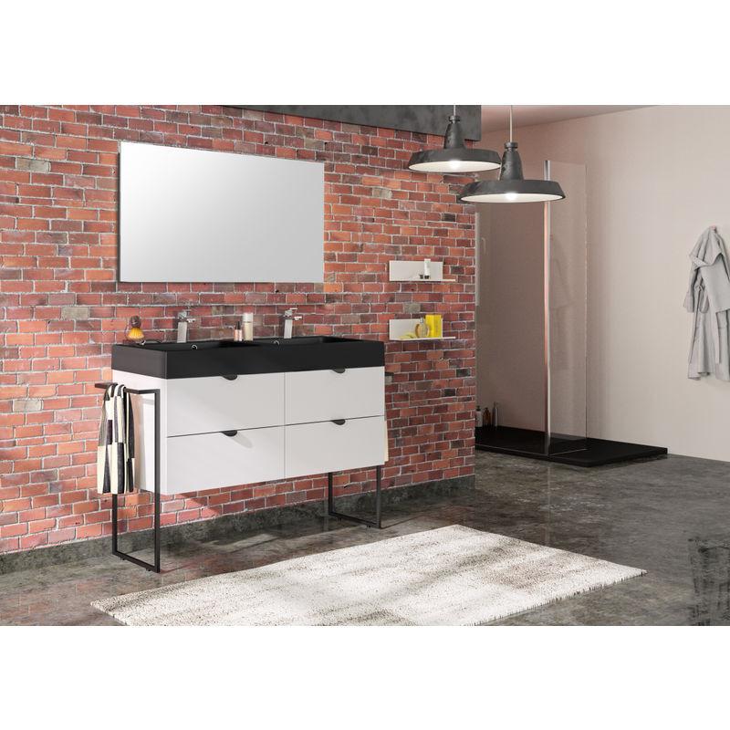 ALLIBERT Meuble de salle de bain 120 cm Faktory blanc mat et plan de toilette noir mat
