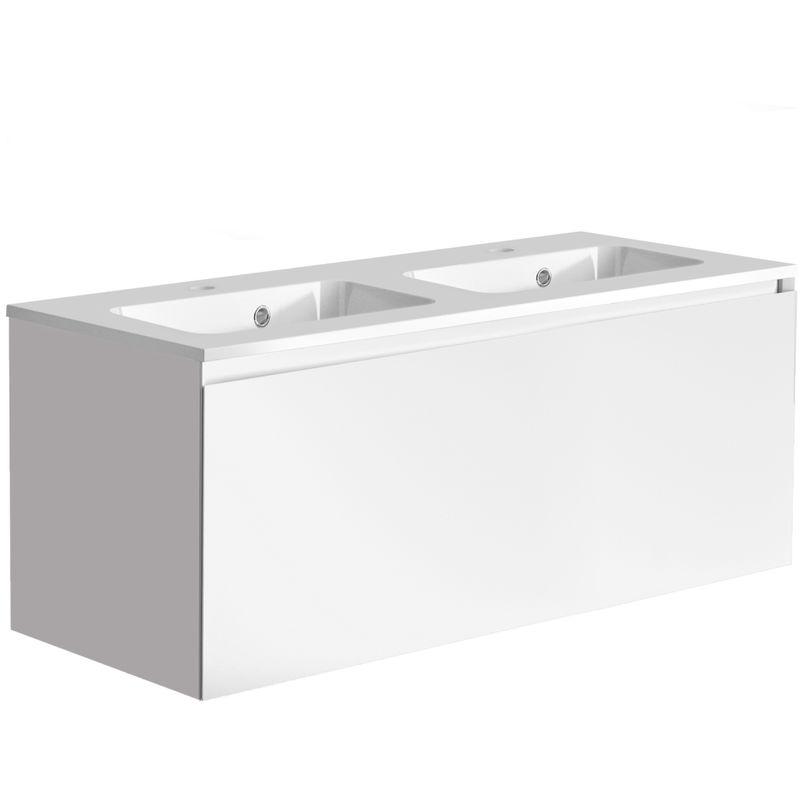 ALLIBERT Meuble de salle de bain 120 cm Nordik blanc ultra mat et double vasque en