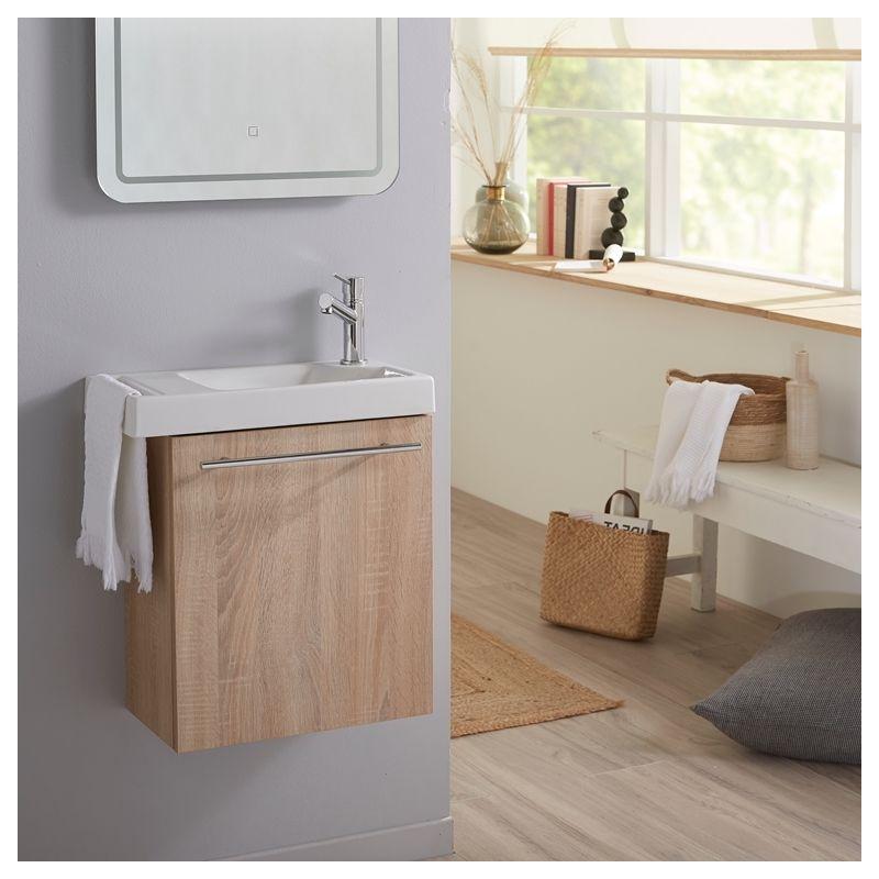 Planetebain Meuble Lave mains couleur chêne Bordolino pour toilette avec robinet eau froide