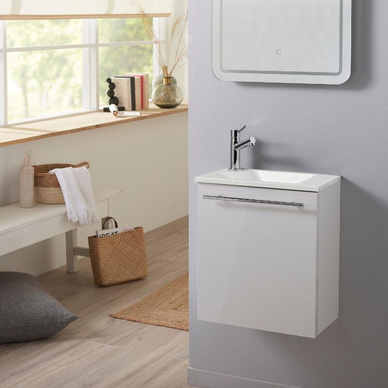 Planetebain Meuble lave-mains pour wc blanc design avec robinet eau froide