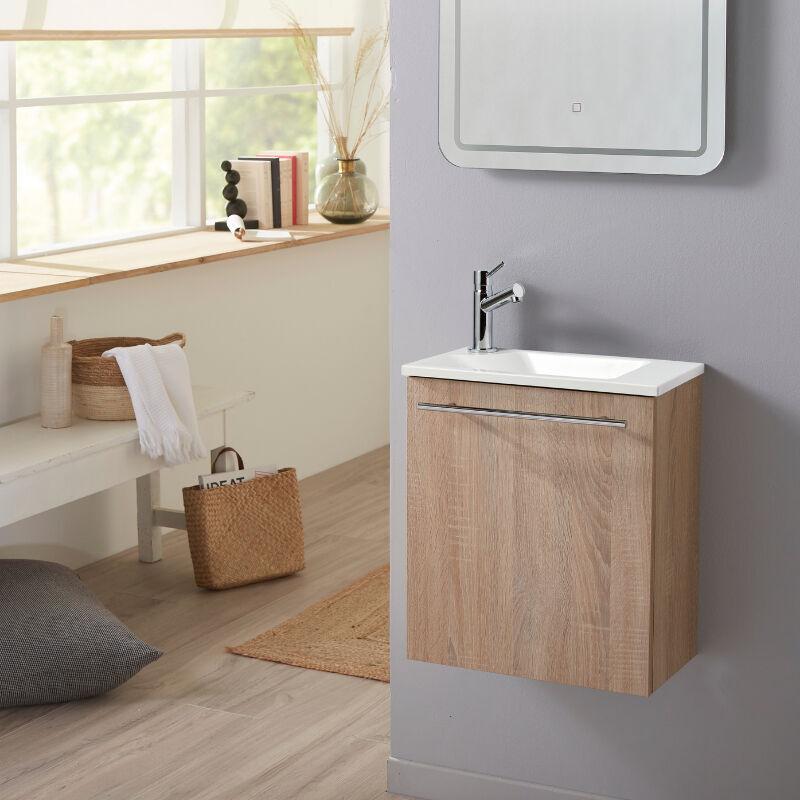 Planetebain Meuble lave-mains pour wc finition chêne oak avec robinet eau froide