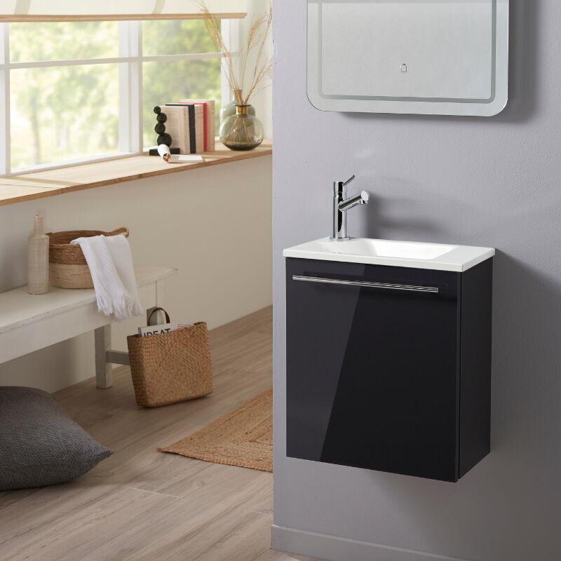 Planetebain Meuble lave-mains pour wc gris anthracite original avec robinet eau froide