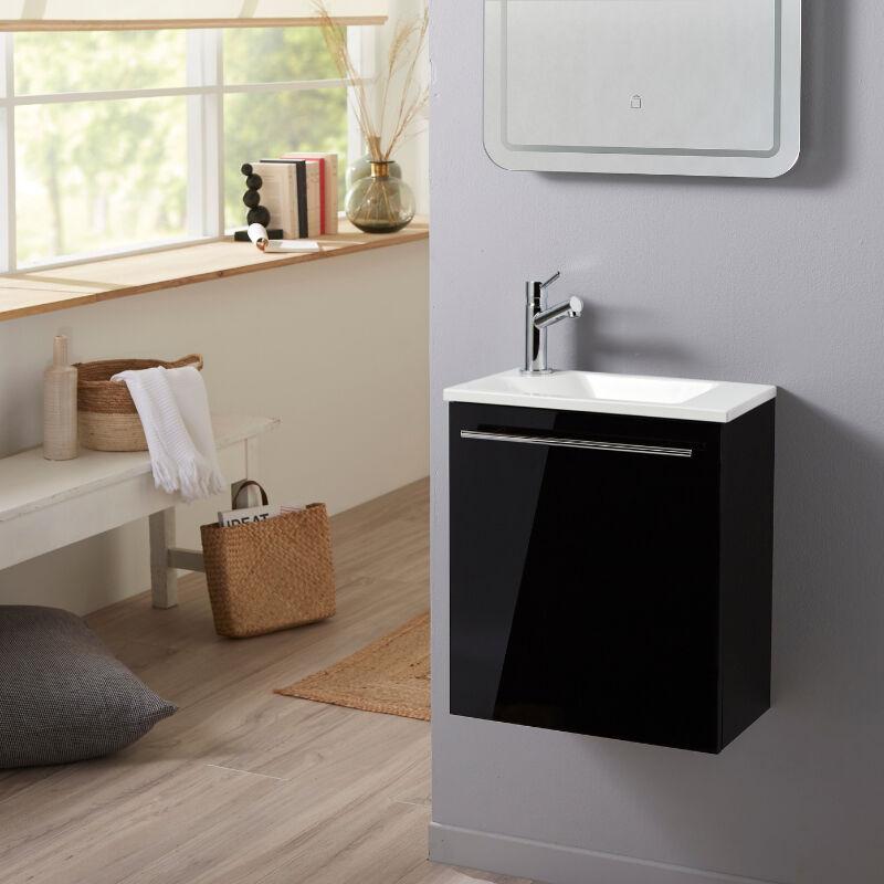 Planetebain Meuble lave-mains pour wc noir design avec robinet eau froide