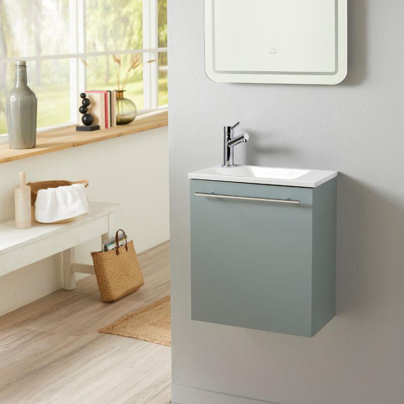 Planetebain Meuble lave-mains pour wc Vert de gris moderne avec robinet eau froide