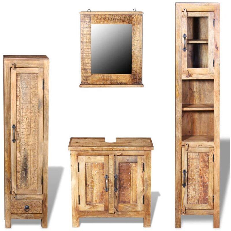 Zqyrlar - Meuble toilette+miroir et 2 armoires latérales Bois de manguier