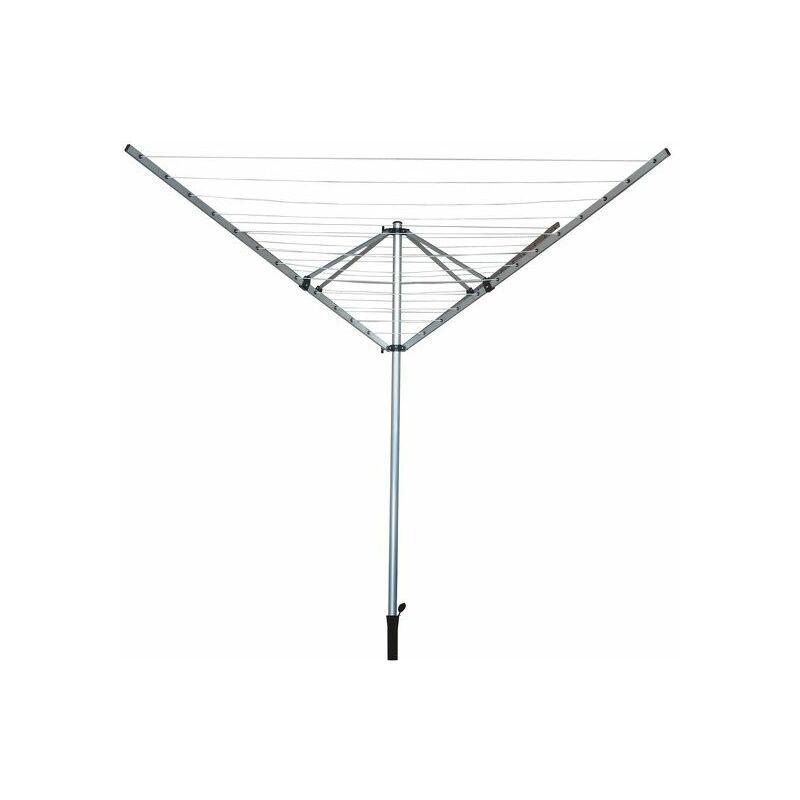 M S V MSV Etendoir parapluie d'extérieur avec filet 50M Inox Gris - Gris