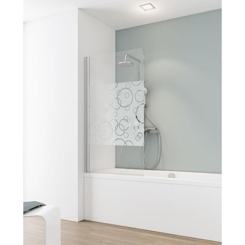 SCHULTE Pare-baignoire rabattable, 80 x 140 cm, verre 5 mm, paroi de baignoire 1 volet,