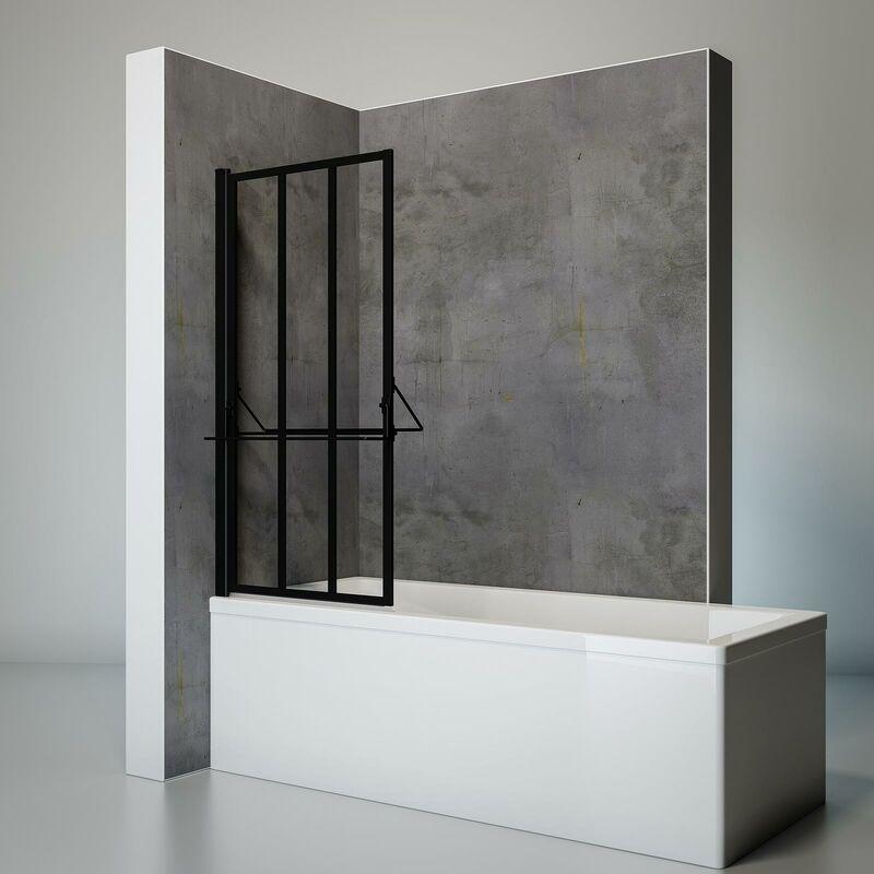 SCHULTE Pare-baignoire rabattable pivotant 75 x 140 cm, verre 4 mm anticalcaire, décor