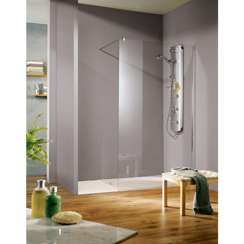 SCHULTE Paroi de douche à l'italienne SUR-MESURE, verre 6 mm anticalcaire, paroi fixe
