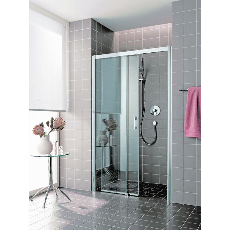 ROTHALUX Porte de douche coulissante largeur 1200mm H2m verre clair traité 6mm 2