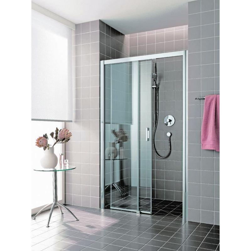 Rothalux - Porte de douche coulissante largeur 1200mm H2m verre clair traité