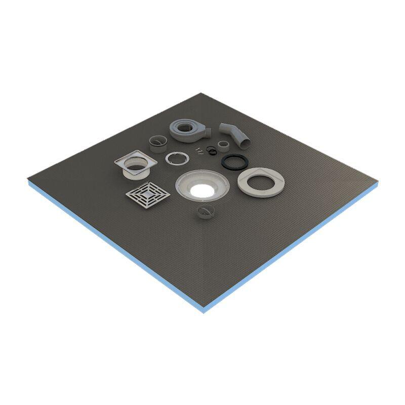 Valstorm - Receveur de douche 100x100x4 cm prêt à carreler avec siphon + Grille