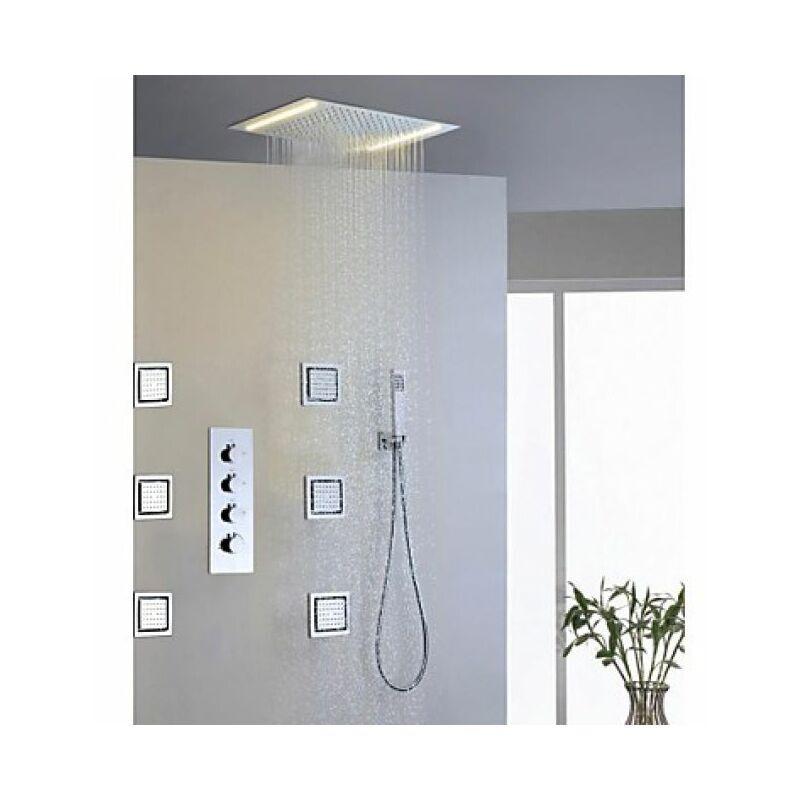 LOOKSHOP Robinet de douche avec douchette de pluie, 6 pcs de jets d'eau massant et une