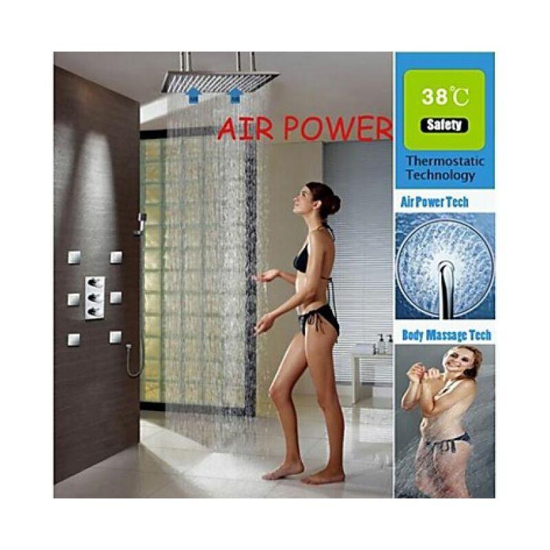 """LOOKSHOP Robinet de douche thermostatique avec douchette de pluie 20"""" et 6 jets d'eau"""