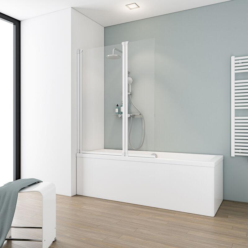 SCHULTE Pare-baignoire rabattable 100 x 130 cm, paroi de baignoire 2 volets écran de
