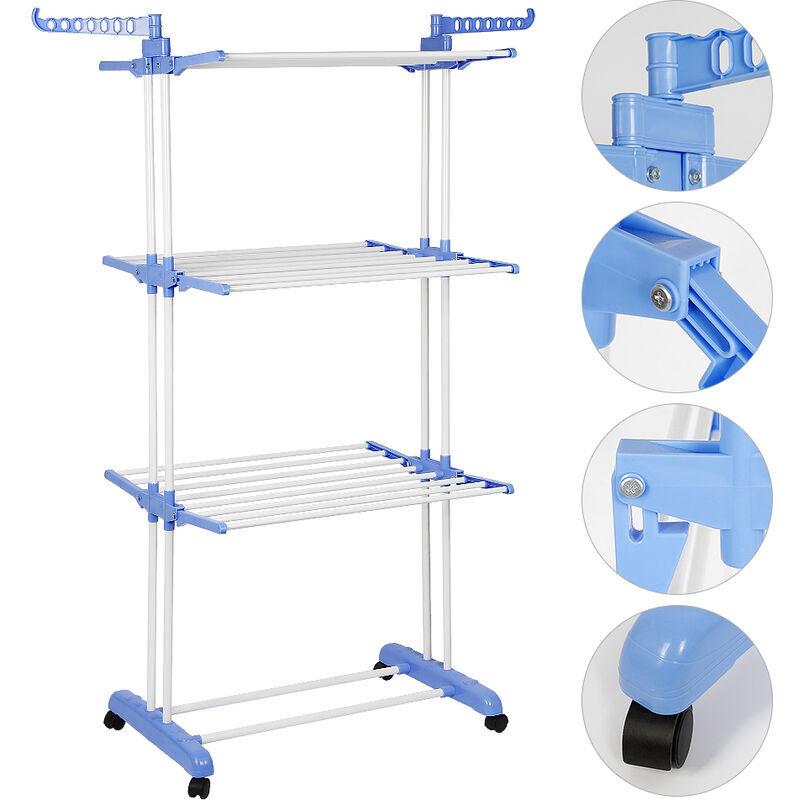SIFREE ®Sotech - Séchoir Pliable d'Interieur, Etendoir à 3 Niveaux, 3 étagères, Bleu,