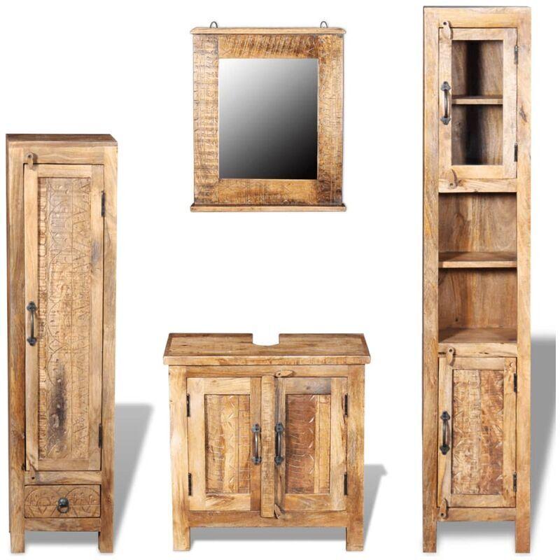 TRUE DEAL Meuble toilette+miroir et 2 armoires latérales Bois de manguier - True Deal