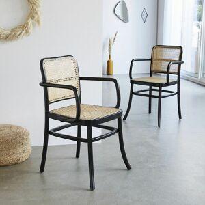BOIS DESSUS BOIS DESSOUS Lot de 2 chaises avec accoudoirs en bois d'acajou et cannage HANA - Noir - Publicité