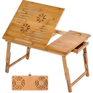 TECTAKE Table de lit pour ordinateur Tablette Liseuse en bambou réglable en hauteur - Publicité