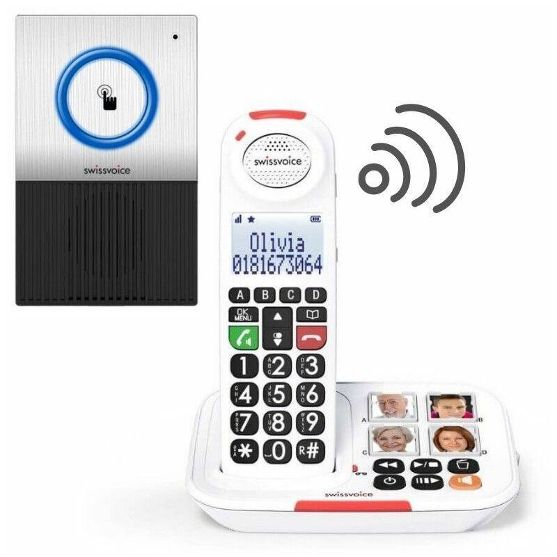 SWISSVOICE Pack Téléphone sans fil Xtra 2155 et une Sonnette interphone - noir