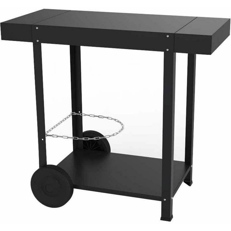 ENO Chariot métal acier thermolaqué noir avec deux tablettes