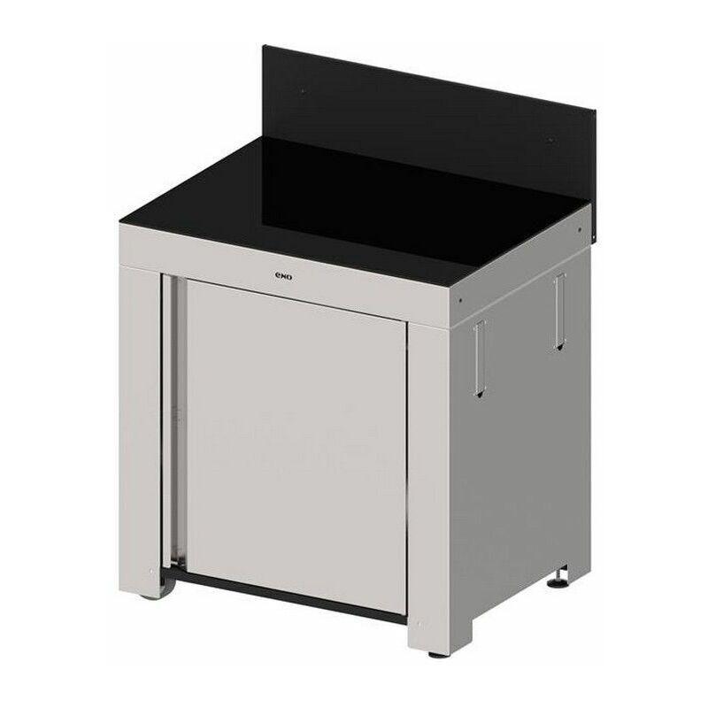 ENO - plancha module cuisine d'extérieur inox et crédence noire - mod4101