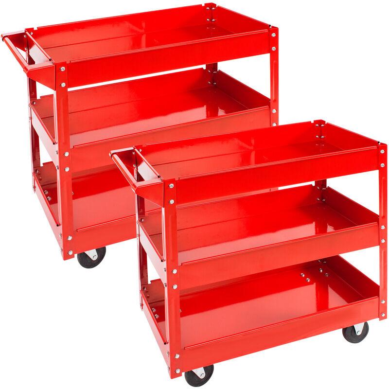 Tectake - 2 Servantes d'Atelier Mobiles à Outils Charge 100 kg 3 Etages Rouge