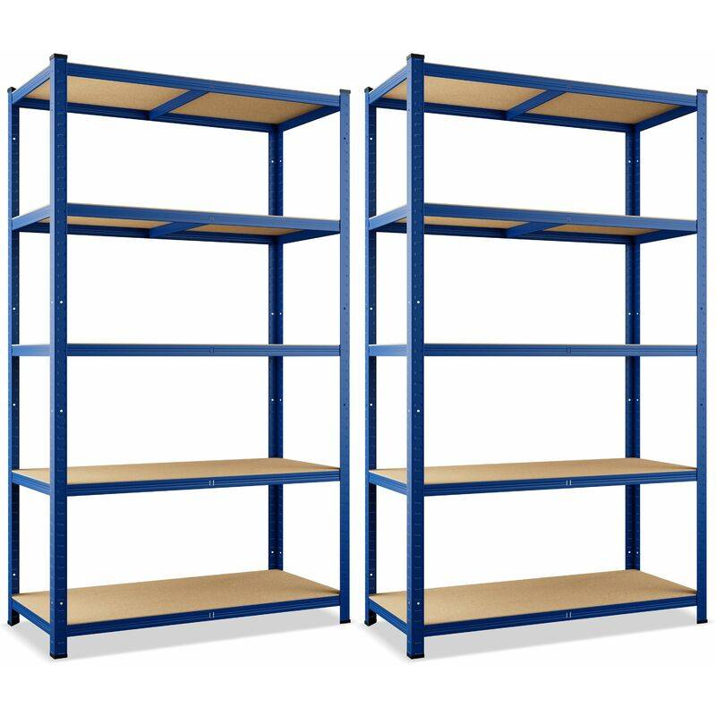 MONZANA 2x Étagères charge lourde métallique 180 x 90 x 40 cm Bleu Charge max. 875 kg 5