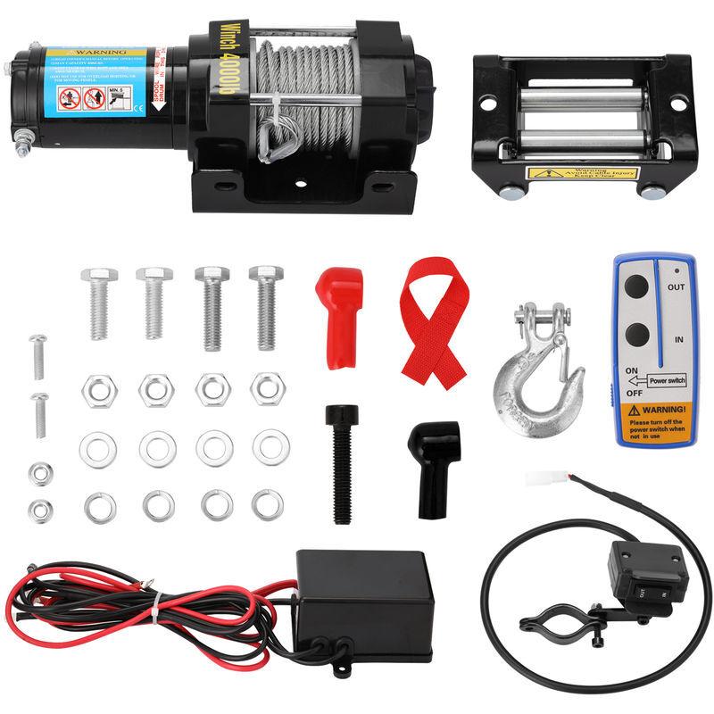 ASUPERMALL 4000Lbs Electrique De Recuperation Treuil Kit Vtt Camion Remorque Voiture Dc12V