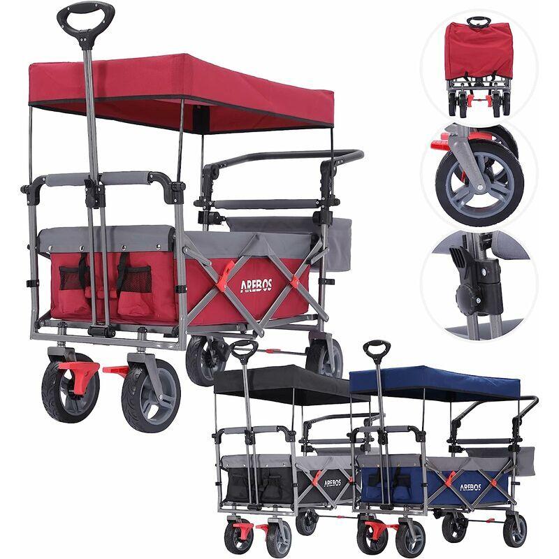 AREBOS Chariot de Jardin Pliable de Première Qualité avec Toit Rouge - Rojo/Gris
