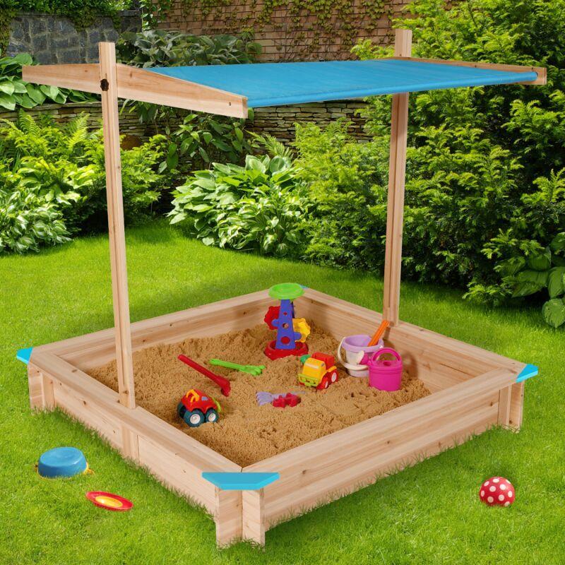 IDMARKET Bac à sable KIDS bois avec toit ouvrant