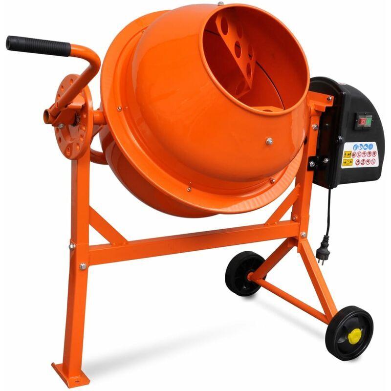 Zqyrlar - Bétonnière électrique 63 L 220 W Acier Orange