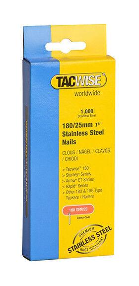 TACWISE Boîte de 1000 clous en acier inoxydable type 180 L. 25 mm - TA-1066 - Tacwise
