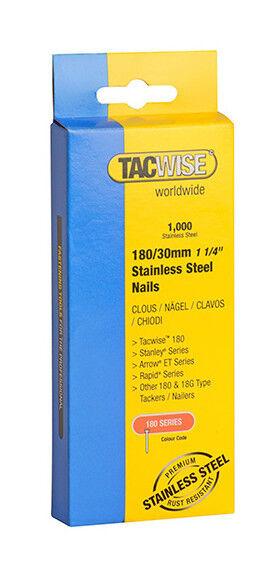 TACWISE Boîte de 1000 clous en acier inoxydable type 180 L. 30 mm - TA-1067 - Tacwise