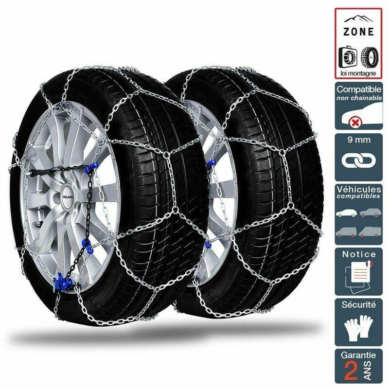 POLAIRE Chaine neige 9mm pneu 215/60R17 montage rapide sécurité garantie