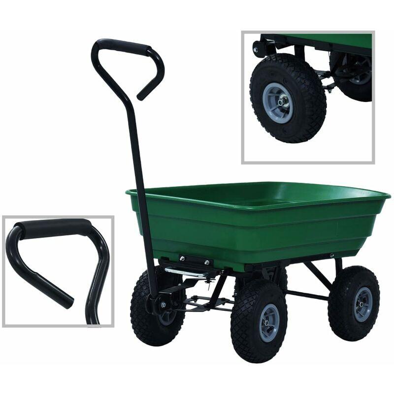 YOUTHUP Chariot à main de jardin 300 kg 75 L Vert