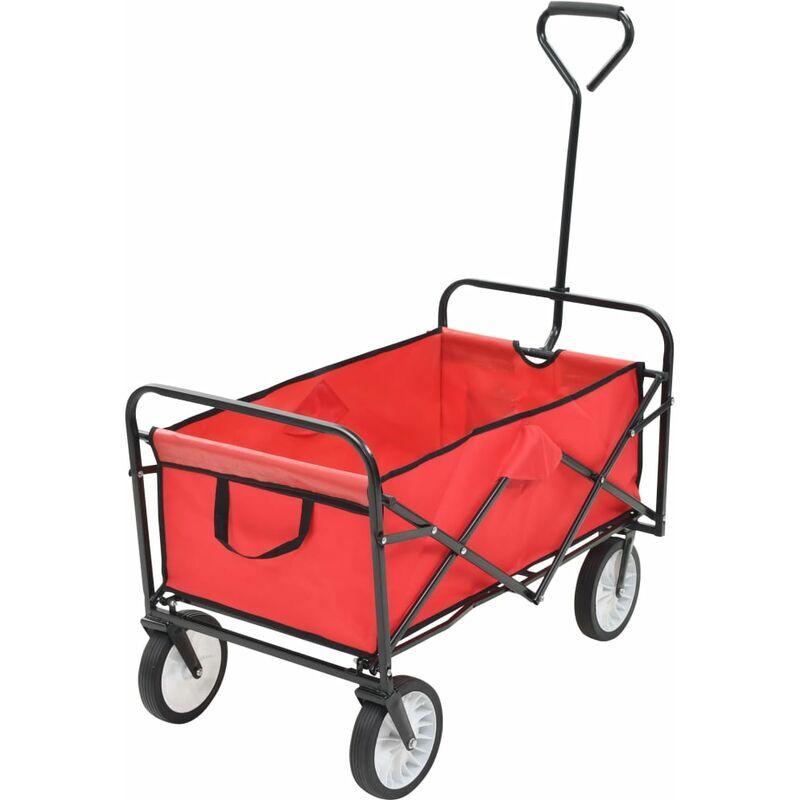 YOUTHUP Chariot à main pliable pour jardin , voyage Acier Rouge